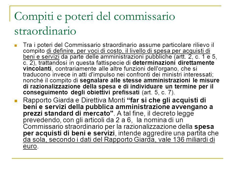 Compiti e poteri del commissario straordinario Tra i poteri del Commissario straordinario assume particolare rilievo il compito di definire, per voci