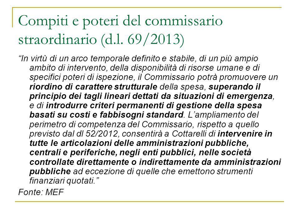 """Compiti e poteri del commissario straordinario (d.l. 69/2013) """"In virtù di un arco temporale definito e stabile, di un più ampio ambito di intervento,"""