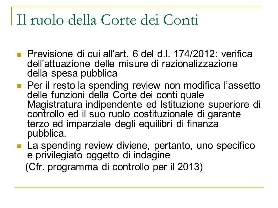 Il ruolo della Corte dei Conti Previsione di cui all'art. 6 del d.l. 174/2012: verifica dell'attuazione delle misure di razionalizzazione della spesa