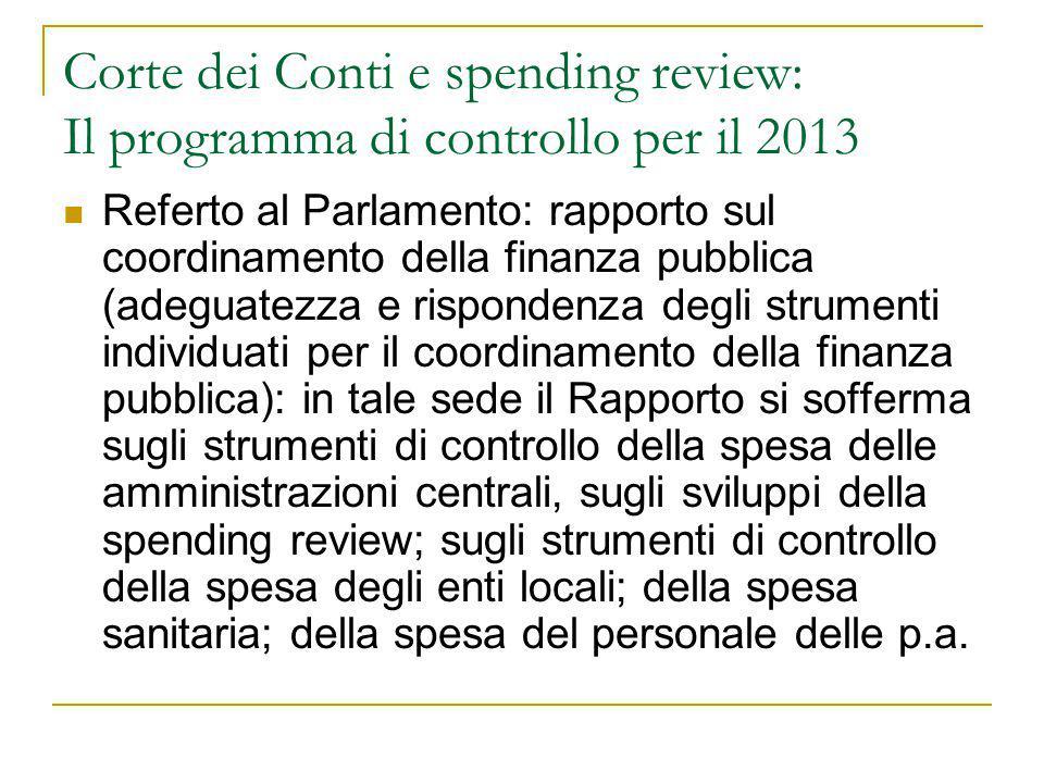 Corte dei Conti e spending review: Il programma di controllo per il 2013 Referto al Parlamento: rapporto sul coordinamento della finanza pubblica (ade
