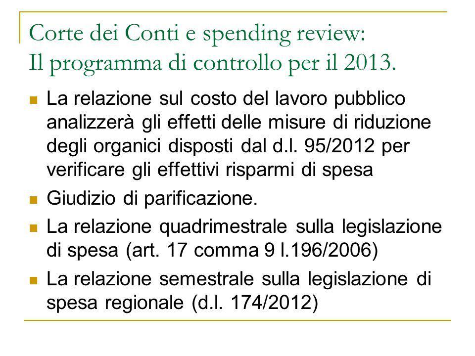 Corte dei Conti e spending review: Il programma di controllo per il 2013. La relazione sul costo del lavoro pubblico analizzerà gli effetti delle misu