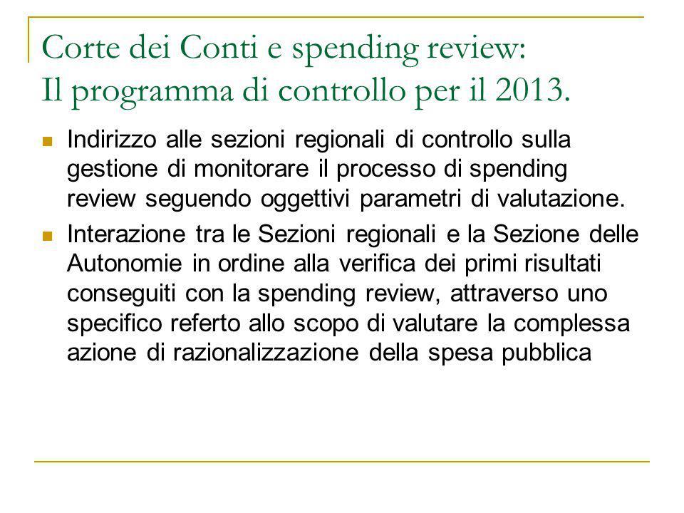 Corte dei Conti e spending review: Il programma di controllo per il 2013. Indirizzo alle sezioni regionali di controllo sulla gestione di monitorare i
