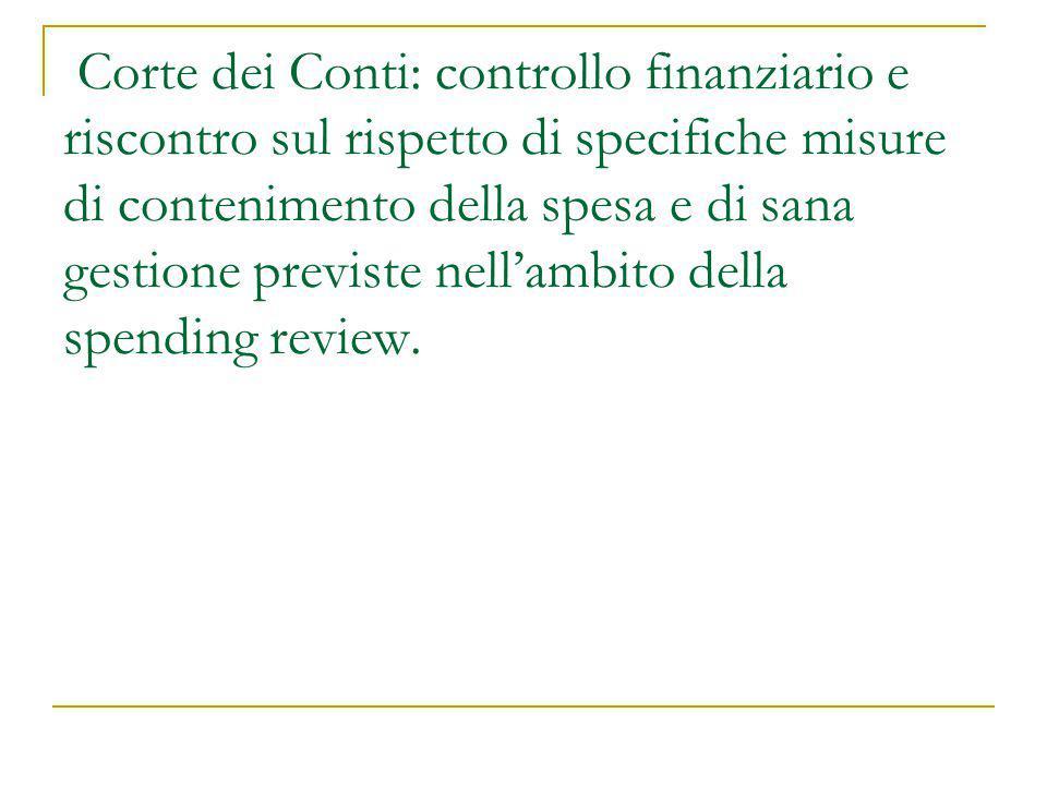Corte dei Conti: controllo finanziario e riscontro sul rispetto di specifiche misure di contenimento della spesa e di sana gestione previste nell'ambi
