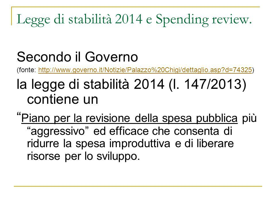 Legge di stabilità 2014 e Spending review.