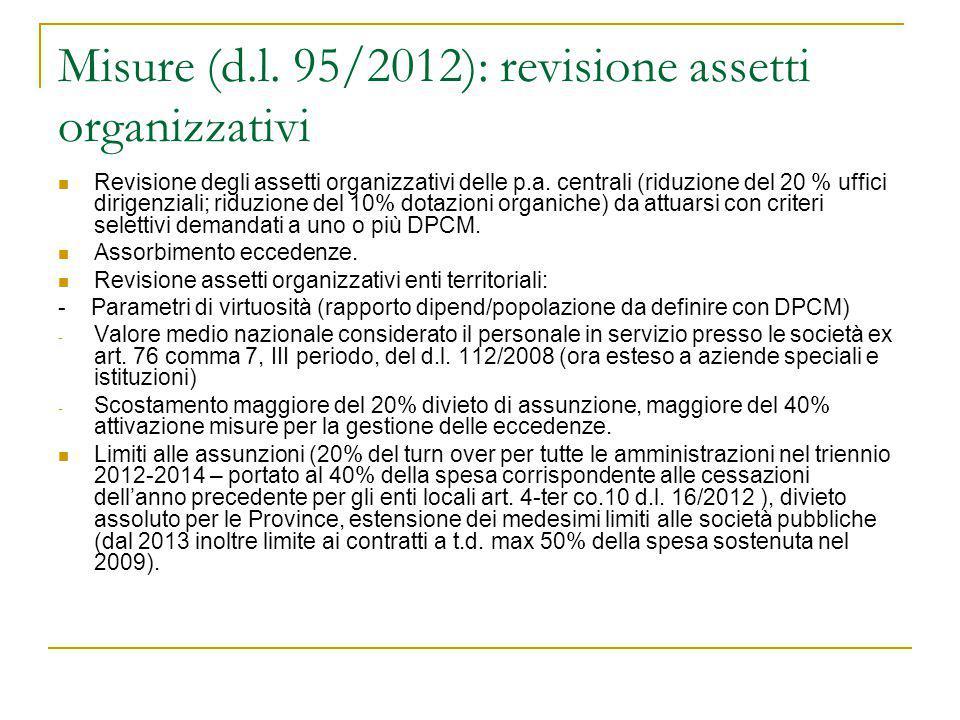 Misure (d.l. 95/2012): revisione assetti organizzativi Revisione degli assetti organizzativi delle p.a. centrali (riduzione del 20 % uffici dirigenzia