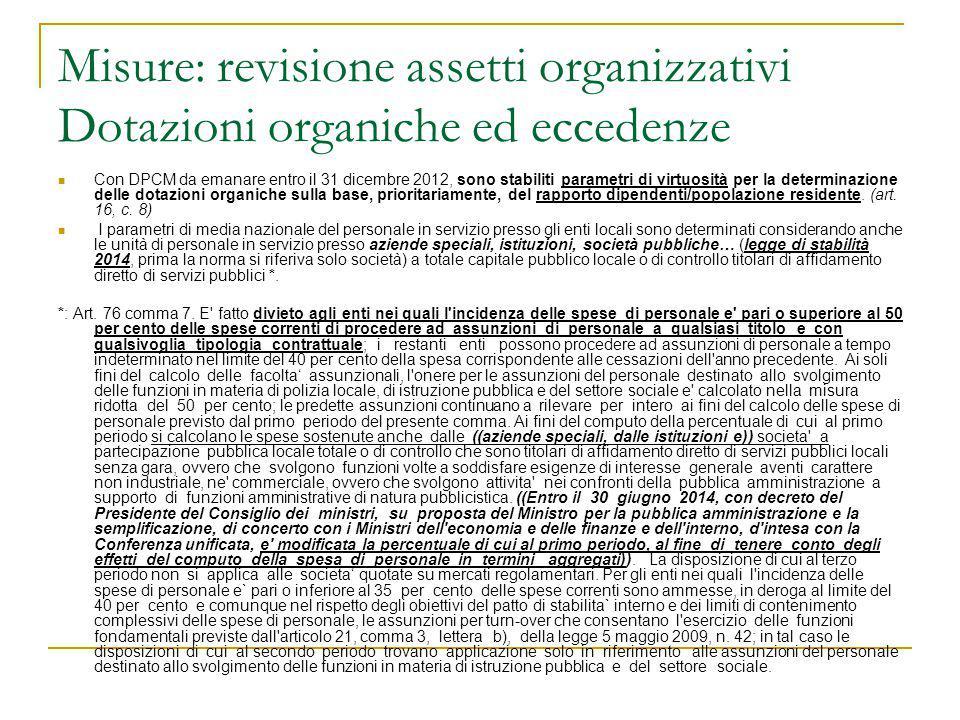 Misure: revisione assetti organizzativi Dotazioni organiche ed eccedenze Con DPCM da emanare entro il 31 dicembre 2012, sono stabiliti parametri di vi