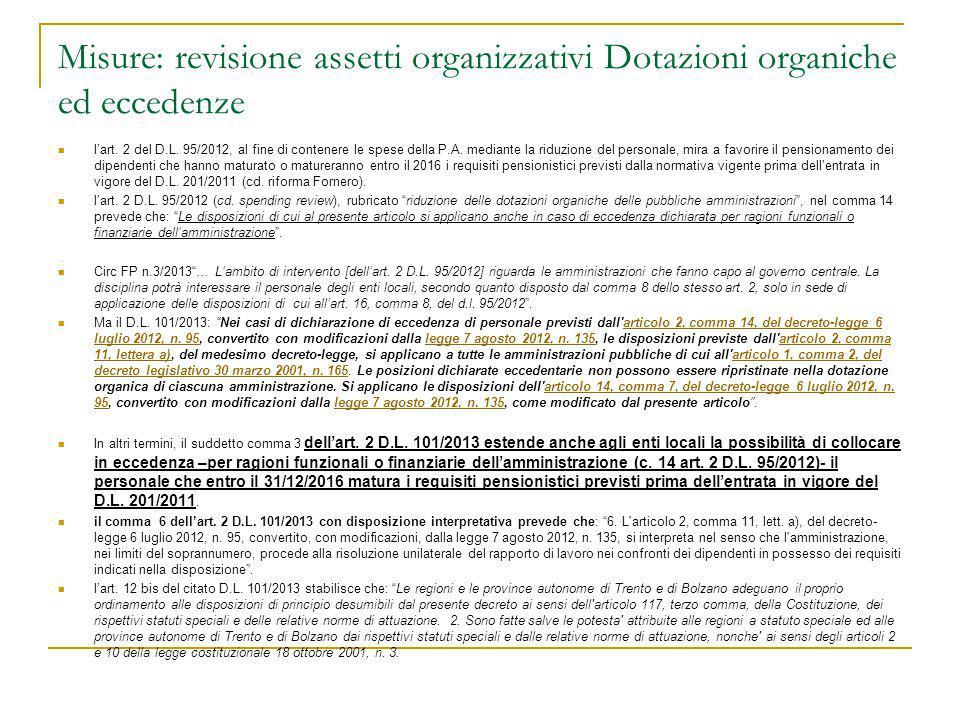 Misure: revisione assetti organizzativi Dotazioni organiche ed eccedenze l'art. 2 del D.L. 95/2012, al fine di contenere le spese della P.A. mediante