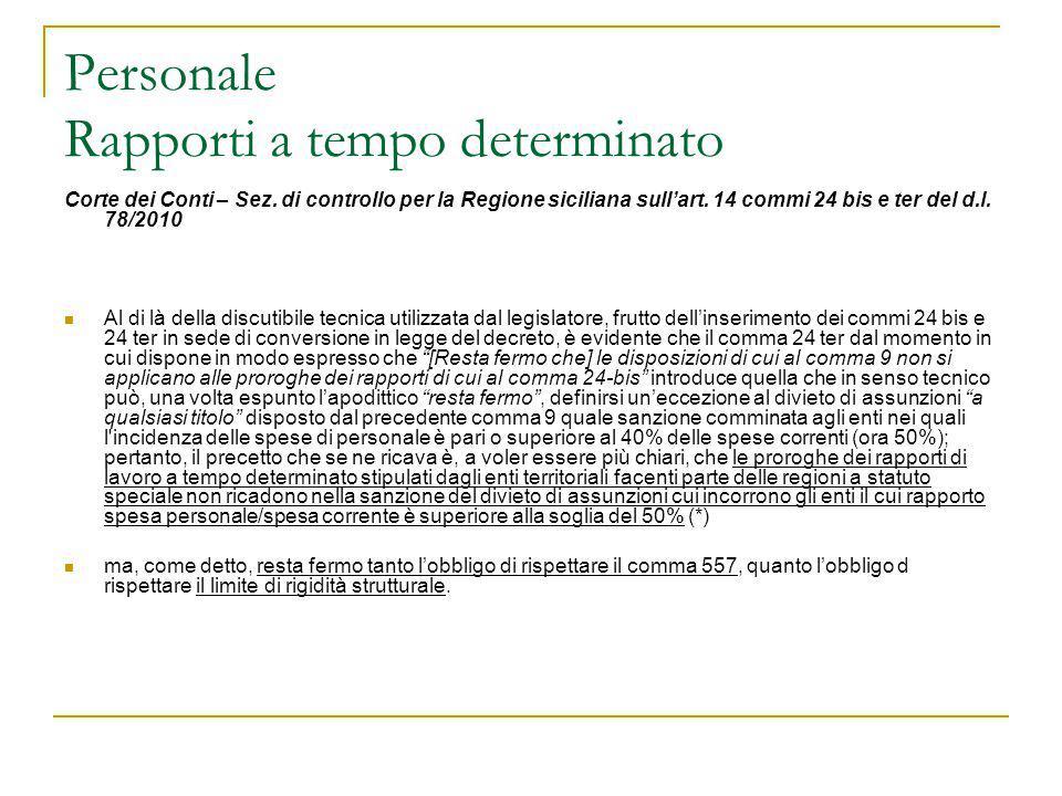 Personale Rapporti a tempo determinato Corte dei Conti – Sez. di controllo per la Regione siciliana sull'art. 14 commi 24 bis e ter del d.l. 78/2010 A