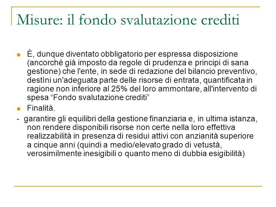 Misure: il fondo svalutazione crediti È, dunque diventato obbligatorio per espressa disposizione (ancorché già imposto da regole di prudenza e princip
