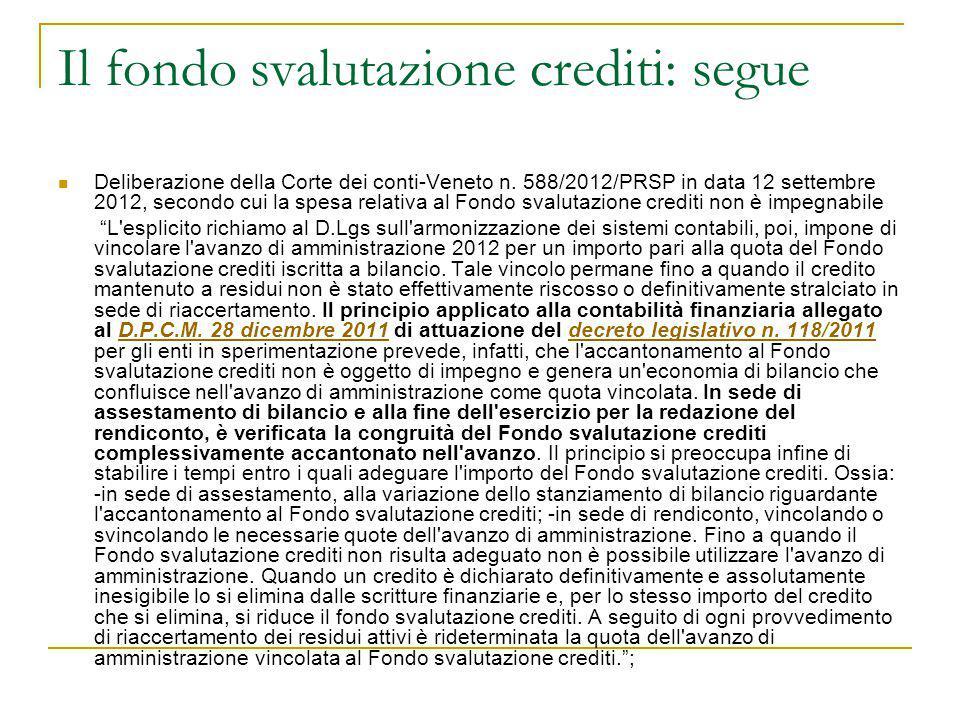 Il fondo svalutazione crediti: segue Deliberazione della Corte dei conti-Veneto n. 588/2012/PRSP in data 12 settembre 2012, secondo cui la spesa relat