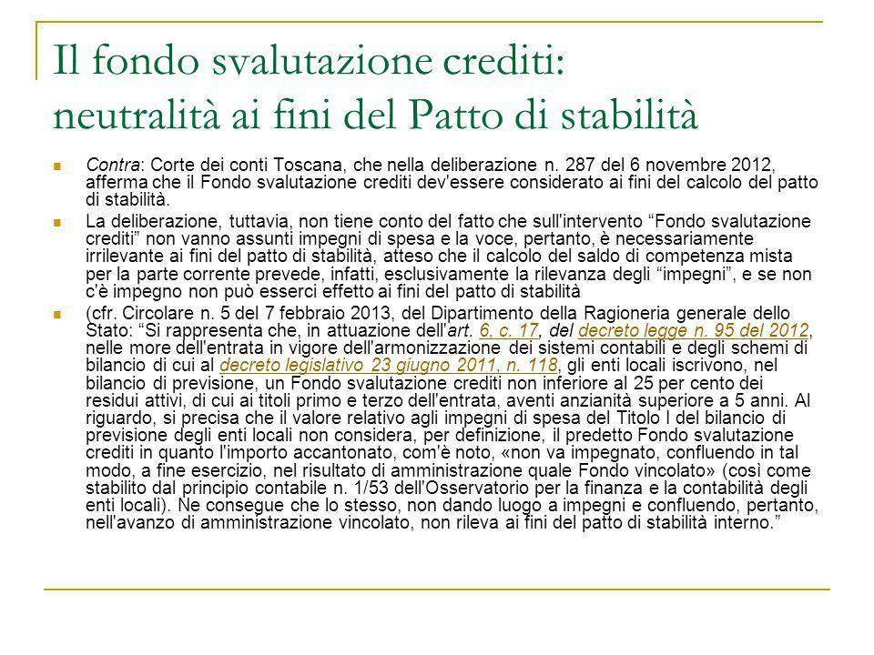 Il fondo svalutazione crediti: neutralità ai fini del Patto di stabilità Contra: Corte dei conti Toscana, che nella deliberazione n. 287 del 6 novembr