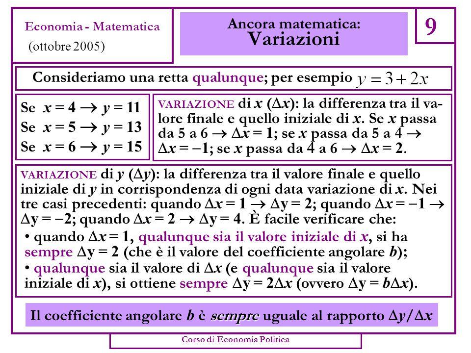 Consideriamo una retta qualunque; per esempio 9 Ancora matematica: Variazioni Se x = 4  y = 11 Se x = 5  y = 13 Se x = 6  y = 15 VARIAZIONE di x (  x ): la differenza tra il va- lore finale e quello iniziale di x.