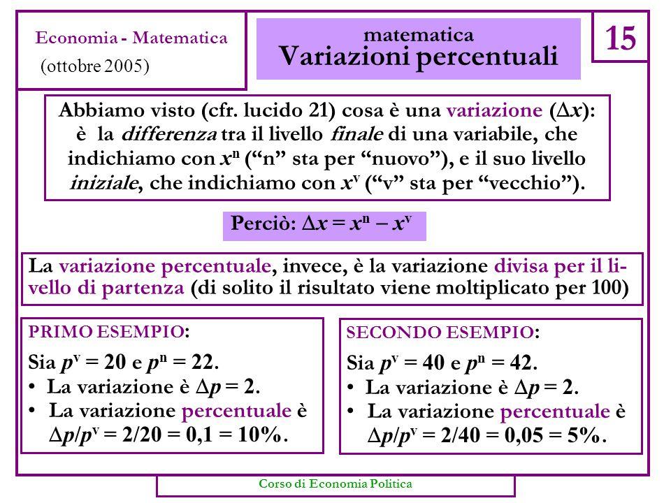 """Abbiamo visto (cfr. lucido 21) cosa è una variazione (  x ): è la differenza tra il livello finale di una variabile, che indichiamo con x n (""""n"""" sta"""
