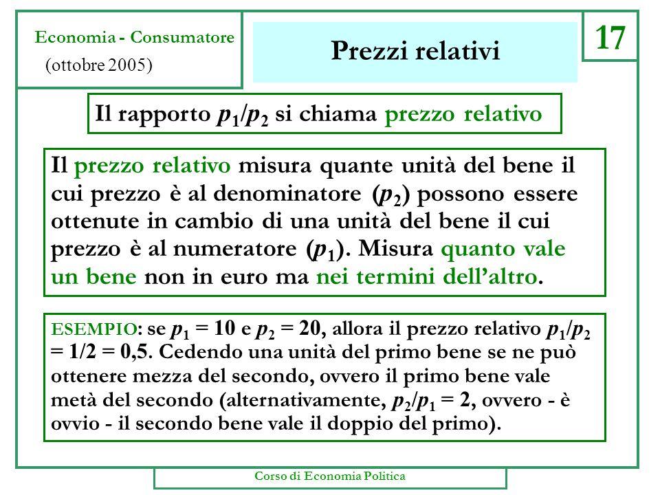17 Prezzi relativi Il rapporto p 1 /p 2 si chiama prezzo relativo Il prezzo relativo misura quante unità del bene il cui prezzo è al denominatore ( p 2 ) possono essere ottenute in cambio di una unità del bene il cui prezzo è al numeratore ( p 1 ).