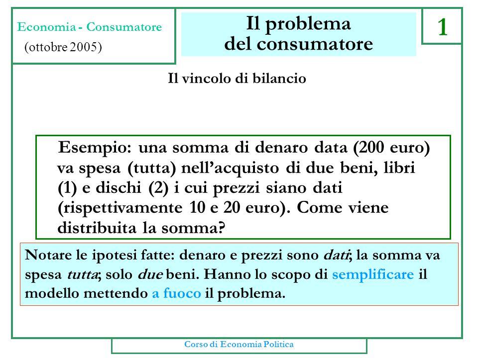 1 Il problema del consumatore Esempio: una somma di denaro data (200 euro) va spesa (tutta) nell'acquisto di due beni, libri (1) e dischi (2) i cui prezzi siano dati (rispettivamente 10 e 20 euro).