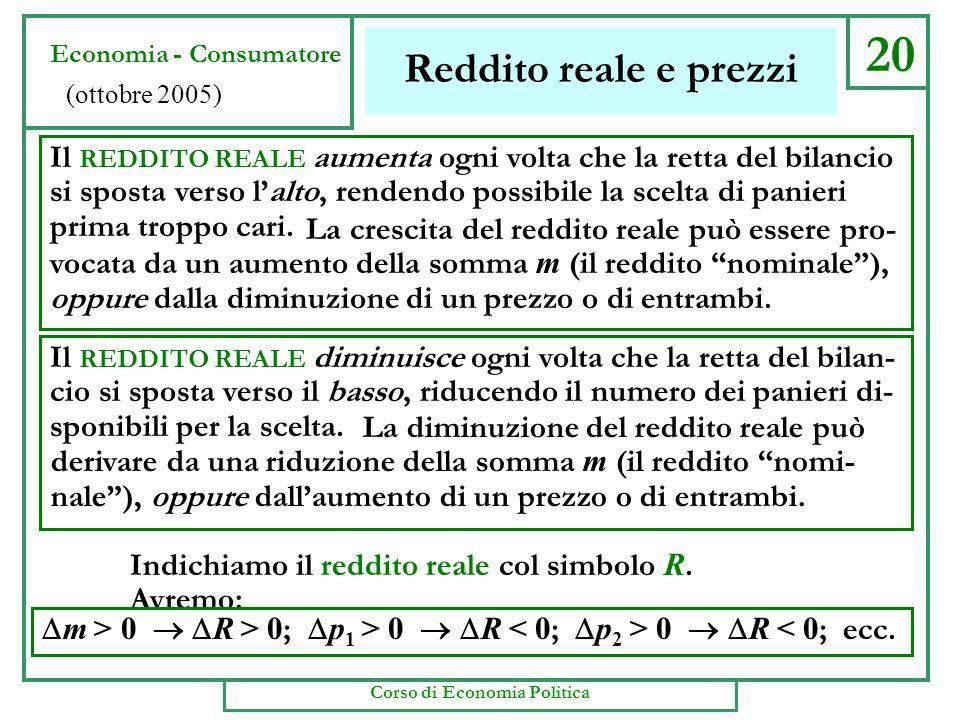 20 Reddito reale e prezzi Il REDDITO REALE aumenta ogni volta che la retta del bilancio si sposta verso l'alto, rendendo possibile la scelta di panieri prima troppo cari.