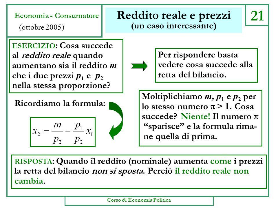 21 Reddito reale e prezzi (un caso interessante) Economia - Consumatore (ottobre 2005) ESERCIZIO : Cosa succede al reddito reale quando aumentano sia il reddito m che i due prezzi p 1 e p 2 nella stessa proporzione.