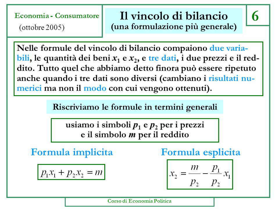 6 Il vincolo di bilancio (una formulazione più generale) Nelle formule del vincolo di bilancio compaiono due varia- bili, le quantità dei beni x 1 e x 2, e tre dati, i due prezzi e il red- dito.