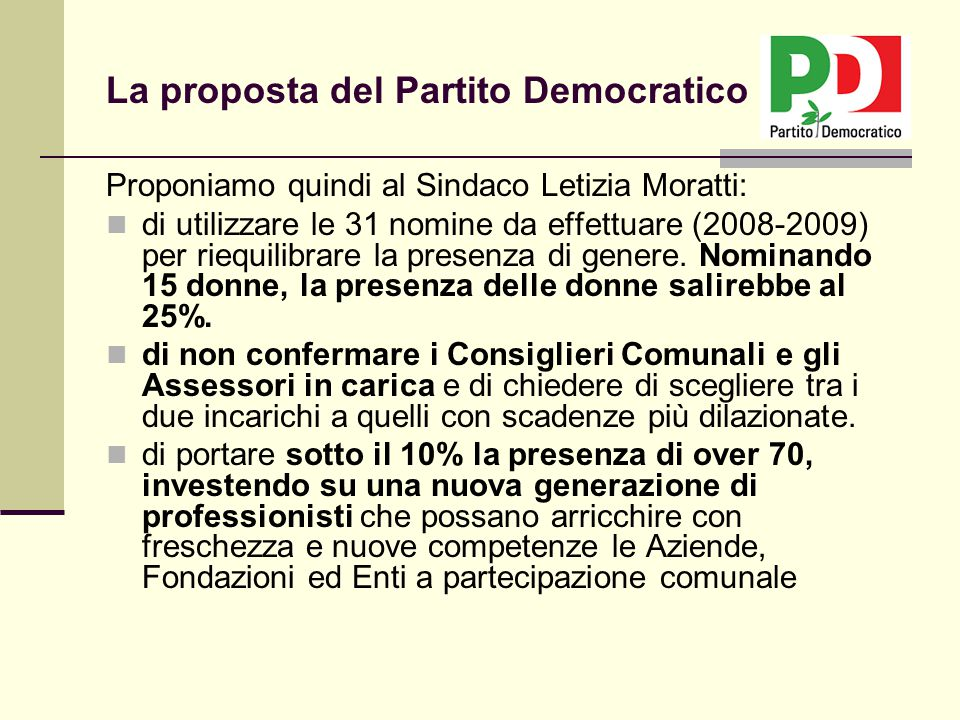 Proponiamo quindi al Sindaco Letizia Moratti: di utilizzare le 31 nomine da effettuare (2008-2009) per riequilibrare la presenza di genere. Nominando