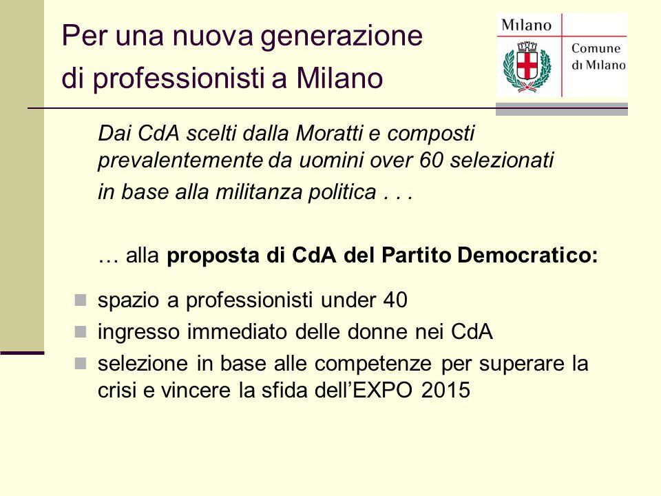 Dai CdA scelti dalla Moratti e composti prevalentemente da uomini over 60 selezionati in base alla militanza politica... … alla proposta di CdA del Pa