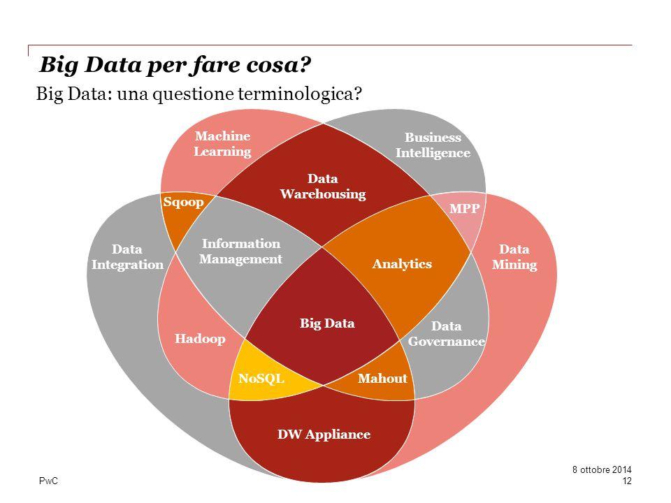 PwC Big Data: una questione terminologica? Machine Learning Data Mining Data Integration Business Intelligence Sqoop Data Warehousing MPP Data Governa