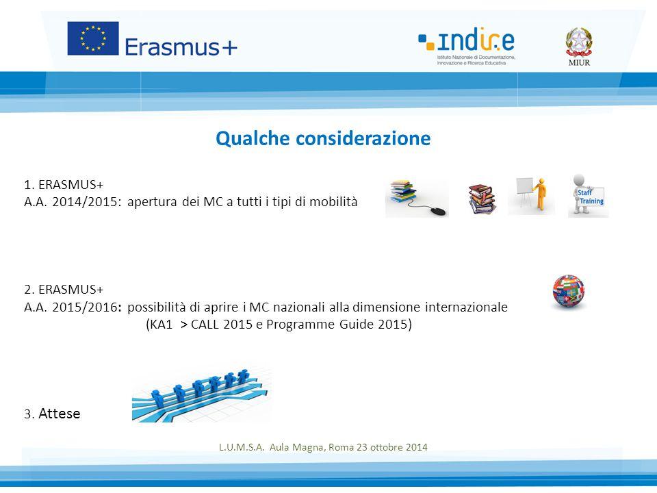 1. ERASMUS+ A.A. 2014/2015: apertura dei MC a tutti i tipi di mobilità 2.