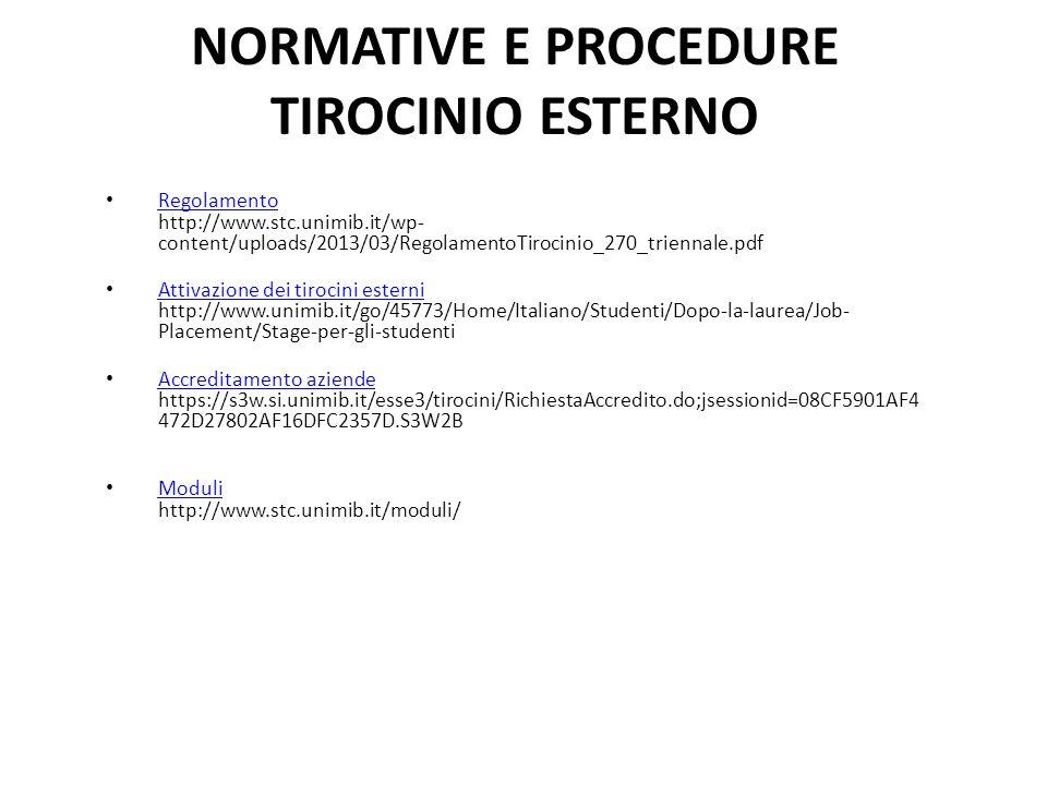 NORMATIVE E PROCEDURE TIROCINIO ESTERNO Regolamento http://www.stc.unimib.it/wp- content/uploads/2013/03/RegolamentoTirocinio_270_triennale.pdf Regolamento Attivazione dei tirocini esterni http://www.unimib.it/go/45773/Home/Italiano/Studenti/Dopo-la-laurea/Job- Placement/Stage-per-gli-studenti Attivazione dei tirocini esterni Accreditamento aziende https://s3w.si.unimib.it/esse3/tirocini/RichiestaAccredito.do;jsessionid=08CF5901AF4 472D27802AF16DFC2357D.S3W2B Accreditamento aziende Moduli http://www.stc.unimib.it/moduli/ Moduli