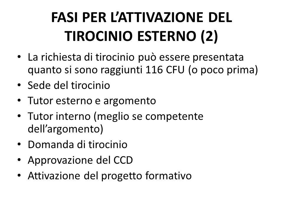 La richiesta di tirocinio può essere presentata quanto si sono raggiunti 116 CFU (o poco prima) Sede del tirocinio Tutor esterno e argomento Tutor int