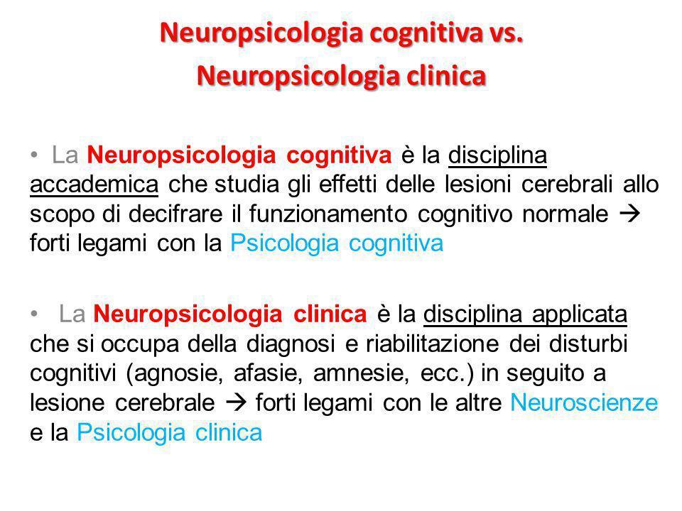 Neuropsicologia cognitiva vs. Neuropsicologia clinica La Neuropsicologia cognitiva è la disciplina accademica che studia gli effetti delle lesioni cer
