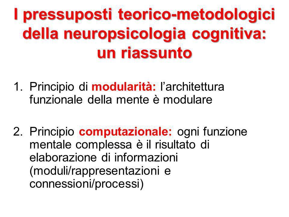 I pressuposti teorico-metodologici della neuropsicologia cognitiva: un riassunto 1.Principio di modularità: l'architettura funzionale della mente è mo