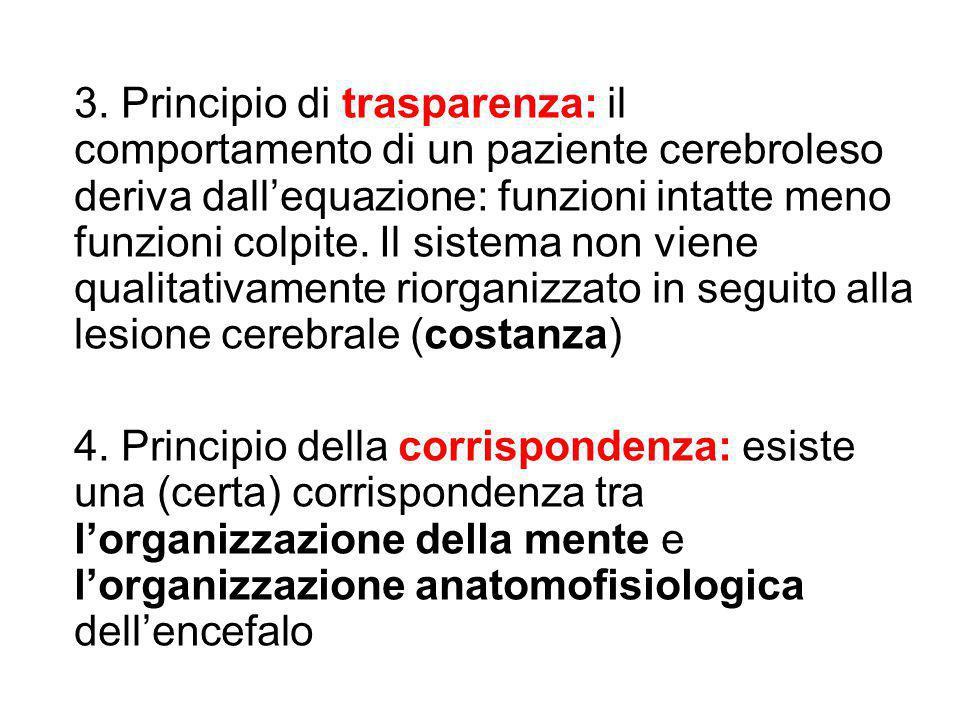 3. Principio di trasparenza: il comportamento di un paziente cerebroleso deriva dall'equazione: funzioni intatte meno funzioni colpite. Il sistema non