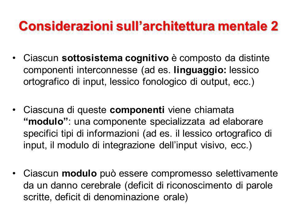 Ciascun sottosistema cognitivo è composto da distinte componenti interconnesse (ad es. linguaggio: lessico ortografico di input, lessico fonologico di