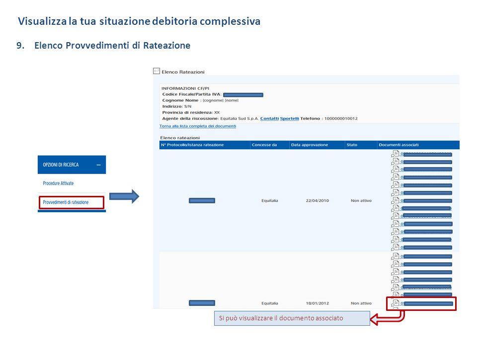 Visualizza la tua situazione debitoria complessiva 9.Elenco Provvedimenti di Rateazione Si può visualizzare il documento associato