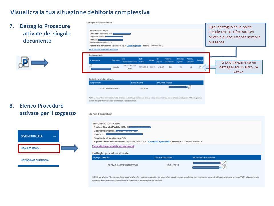 Visualizza la tua situazione debitoria complessiva 7.Dettaglio Procedure attivate del singolo documento 8.Elenco Procedure attivate per il soggetto Si