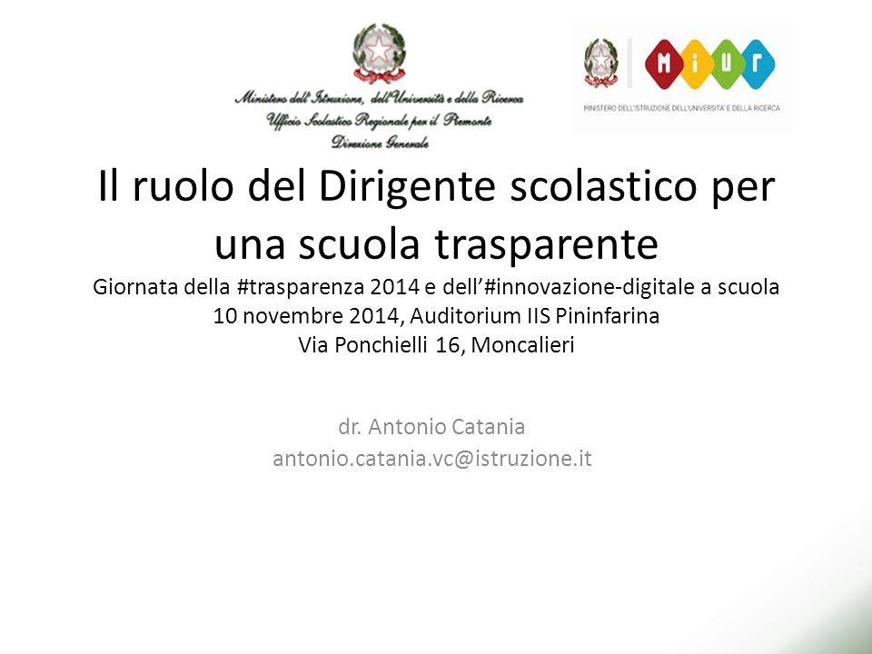 Il ruolo del Dirigente scolastico per una scuola trasparente Giornata della #trasparenza 2014 e dell'#innovazione-digitale a scuola 10 novembre 2014, Auditorium IIS Pininfarina Via Ponchielli 16, Moncalieri dr.