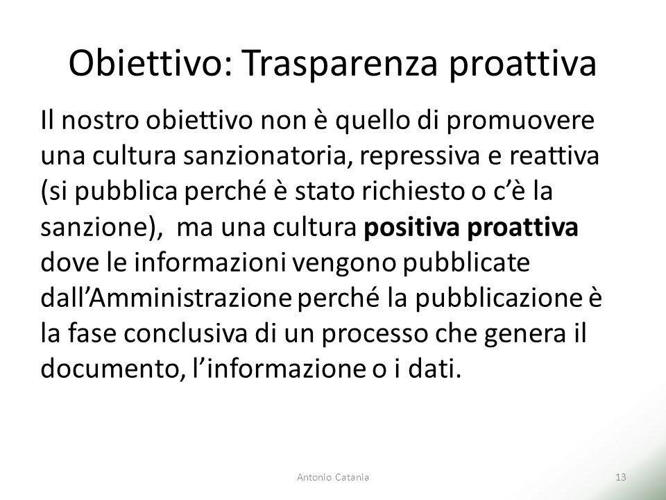 Obiettivo: Trasparenza proattiva Antonio Catania13 Il nostro obiettivo non è quello di promuovere una cultura sanzionatoria, repressiva e reattiva (si