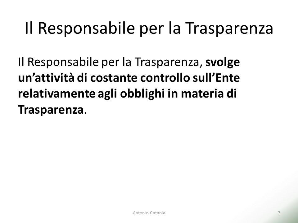 Il Responsabile per la Trasparenza Il Responsabile per la Trasparenza, svolge un'attività di costante controllo sull'Ente relativamente agli obblighi