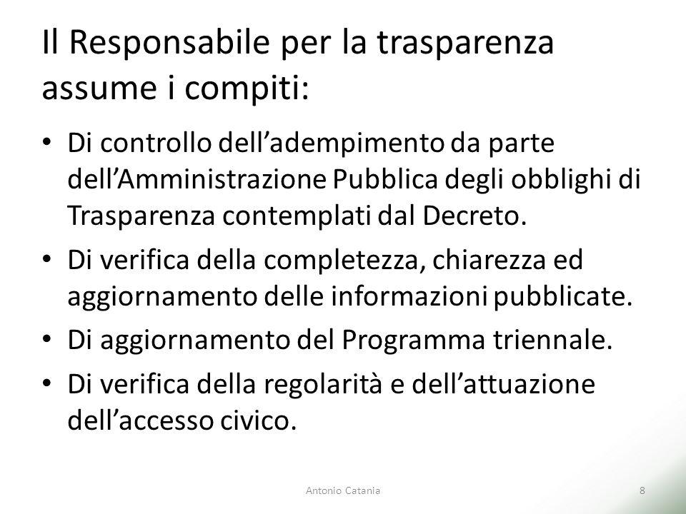 Il Responsabile per la trasparenza assume i compiti: Di controllo dell'adempimento da parte dell'Amministrazione Pubblica degli obblighi di Trasparenza contemplati dal Decreto.