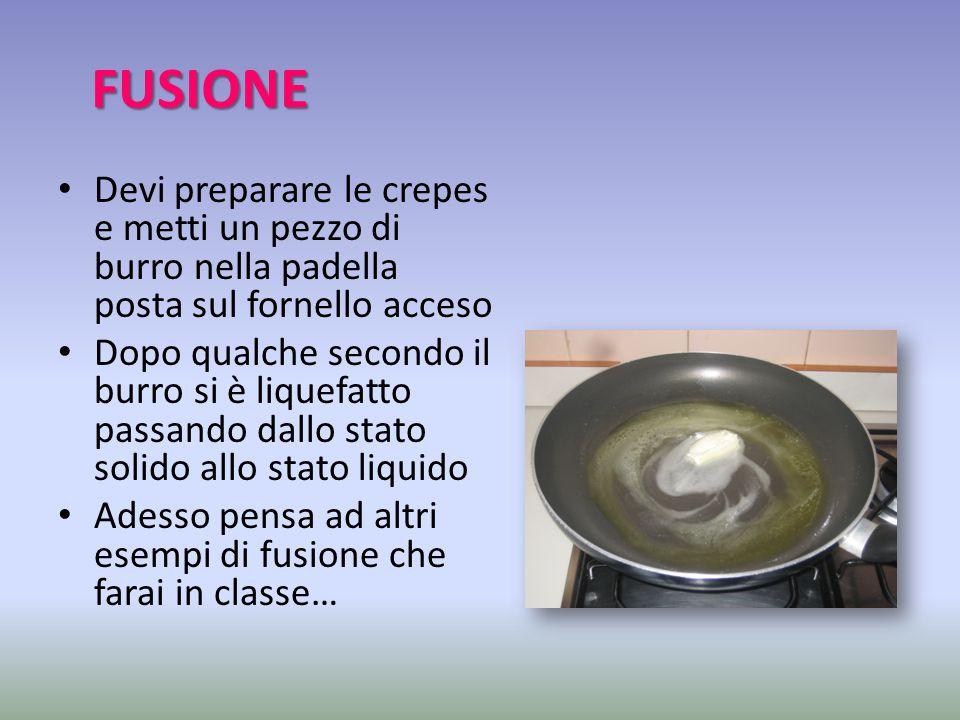 FUSIONE Devi preparare le crepes e metti un pezzo di burro nella padella posta sul fornello acceso Dopo qualche secondo il burro si è liquefatto passa
