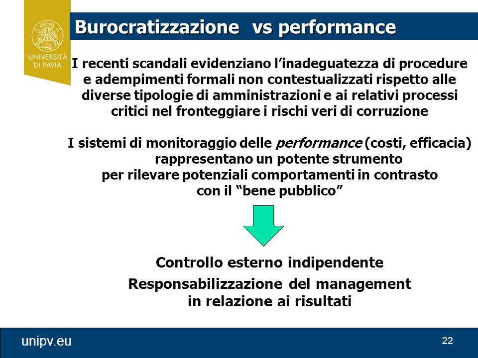 22 unipv.eu I recenti scandali evidenziano l'inadeguatezza di procedure e adempimenti formali non contestualizzati rispetto alle diverse tipologie di