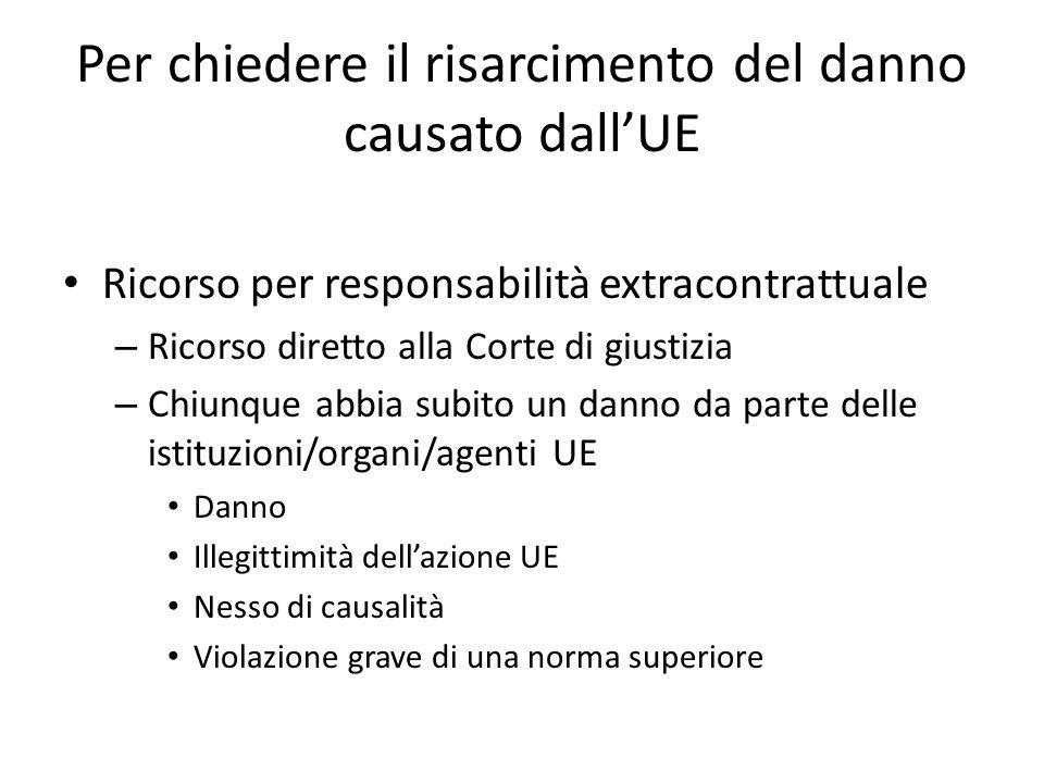 Per chiedere il risarcimento del danno causato dall'UE Ricorso per responsabilità extracontrattuale – Ricorso diretto alla Corte di giustizia – Chiunq