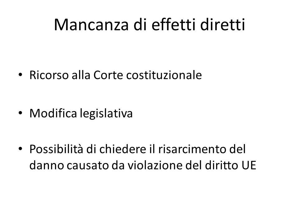 Mancanza di effetti diretti Ricorso alla Corte costituzionale Modifica legislativa Possibilità di chiedere il risarcimento del danno causato da violaz