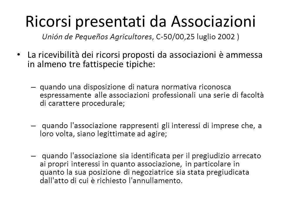 Ricorsi presentati da Associazioni Unión de Pequeños Agricultores, C-50/00,25 luglio 2002 ) La ricevibilità dei ricorsi proposti da associazioni è amm