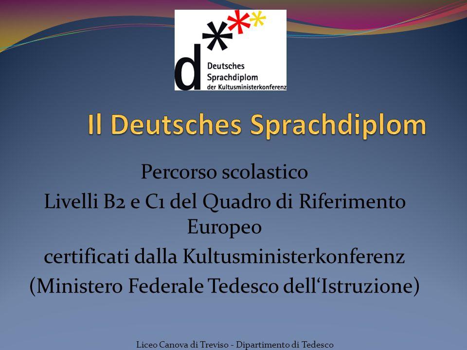 Percorso scolastico Livelli B2 e C1 del Quadro di Riferimento Europeo certificati dalla Kultusministerkonferenz (Ministero Federale Tedesco dell'Istru