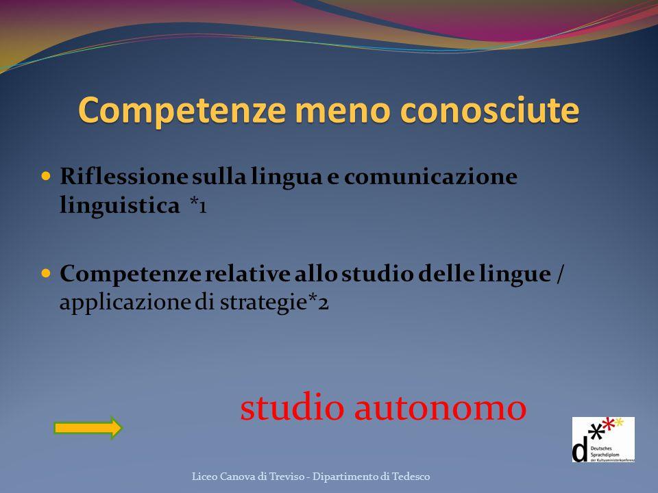 Competenze meno conosciute Riflessione sulla lingua e comunicazione linguistica *1 Competenze relative allo studio delle lingue / applicazione di stra