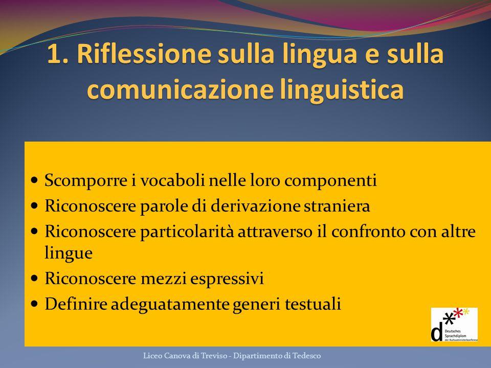 1. Riflessione sulla lingua e sulla comunicazione linguistica Scomporre i vocaboli nelle loro componenti Riconoscere parole di derivazione straniera R