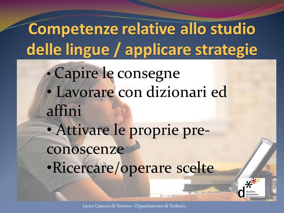 Competenze relative allo studio delle lingue / applicare strategie Liceo Canova di Treviso - Dipartimento di Tedesco Capire le consegne Lavorare con d