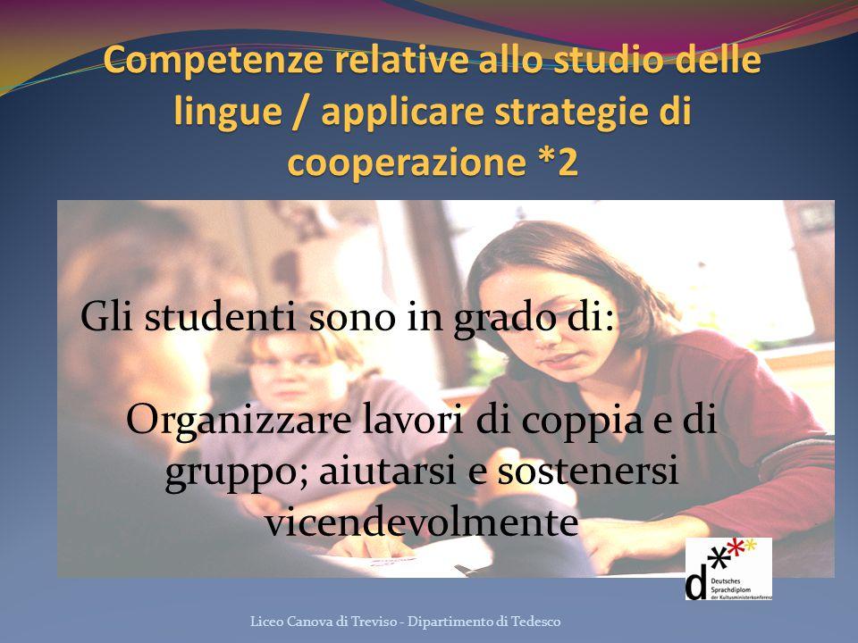 Competenze relative allo studio delle lingue / applicare strategie di cooperazione *2 Liceo Canova di Treviso - Dipartimento di Tedesco Gli studenti s