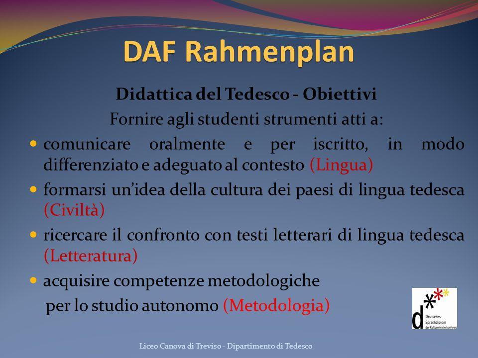 DAF Rahmenplan Didattica del Tedesco - Obiettivi Fornire agli studenti strumenti atti a: comunicare oralmente e per iscritto, in modo differenziato e
