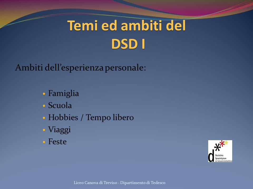 Temi ed ambiti del DSD I Ambiti dell'esperienza personale: Famiglia Scuola Hobbies / Tempo libero Viaggi Feste Liceo Canova di Treviso - Dipartimento